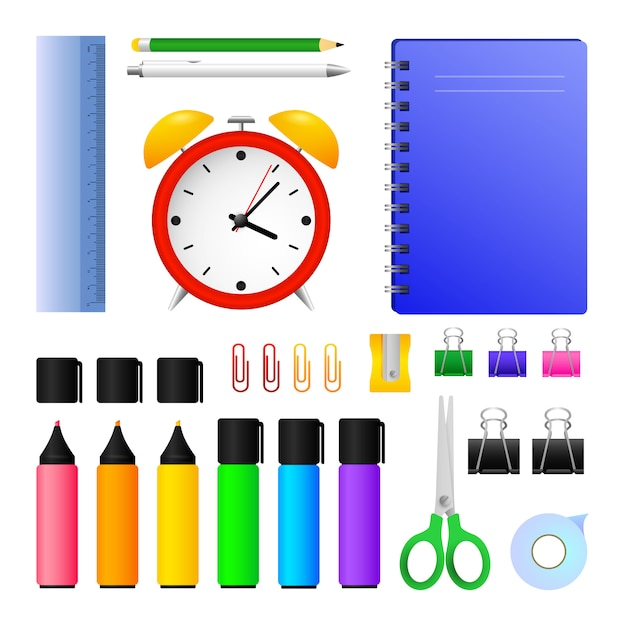 Office supplies and alarm clock Free Vector