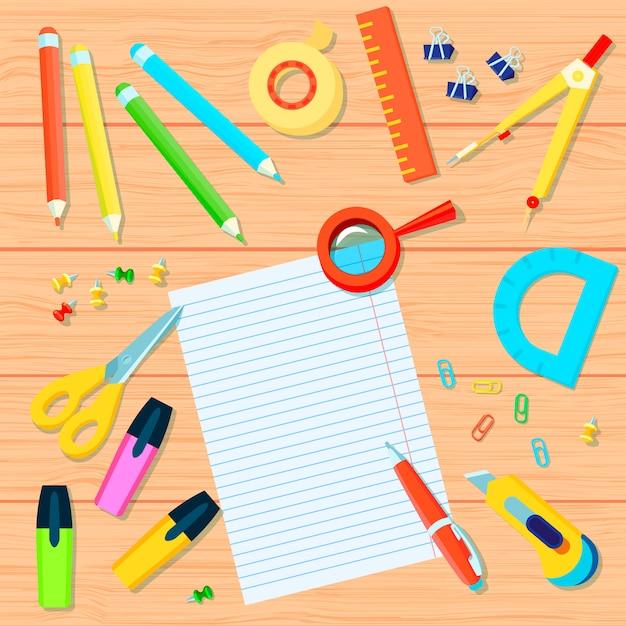 Канцелярские товары фон с карандашами, ленты, линейки, защелки, маркеры, транспортир, ручка, ножницы, компас Бесплатные векторы