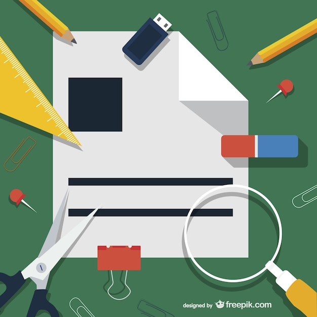 Office supplies illustration Free Vector