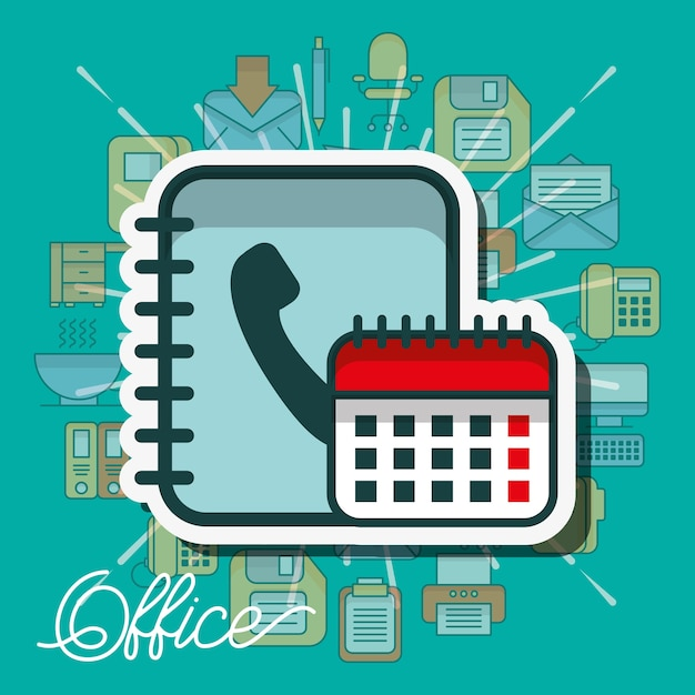 Office supplies and people Premium Vector