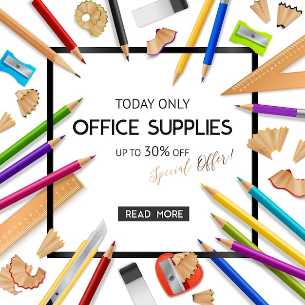 Office supplies realistic background Free Vector