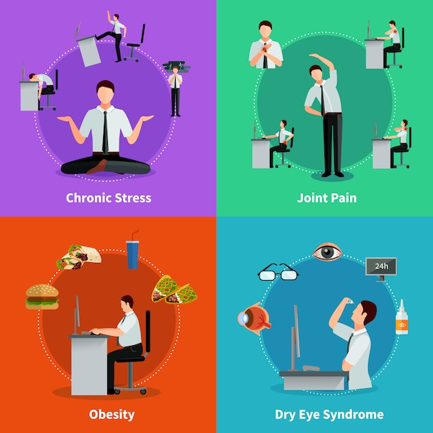 Office syndrome 2x2 flat concept set of diseases as results of sedentary work Free Vector