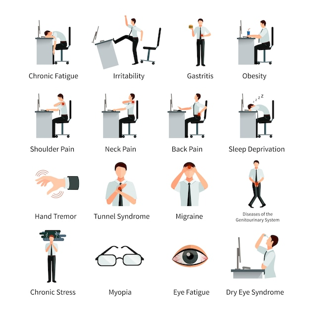 Office syndrome flat character set with employees at desk and  inscriptions about negative impact of sitting work isolated vector illustration Free Vector