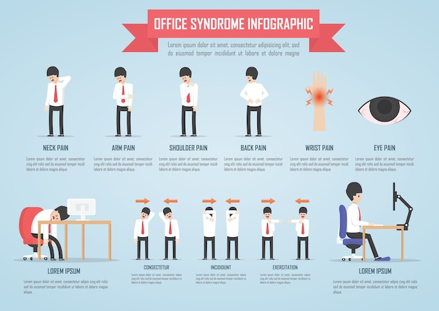 Office syndrome infographic template design Premium Vector