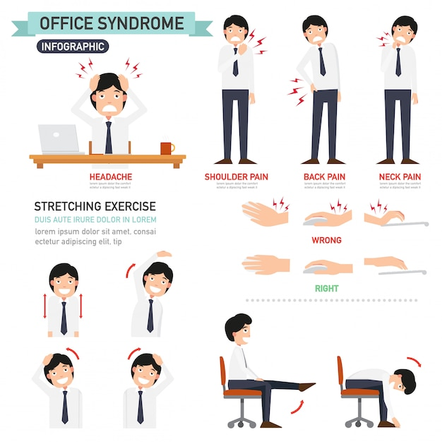 Office syndrome infographic Premium Vector