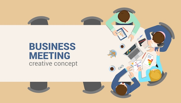 Office table top view business meeting flat web infographic concept . staff table report analytics working tablet laptop empty background. brainstorm report planning. creative people collection. Free Vector
