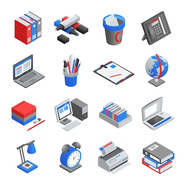 Office tools isometric icons set Free Vector