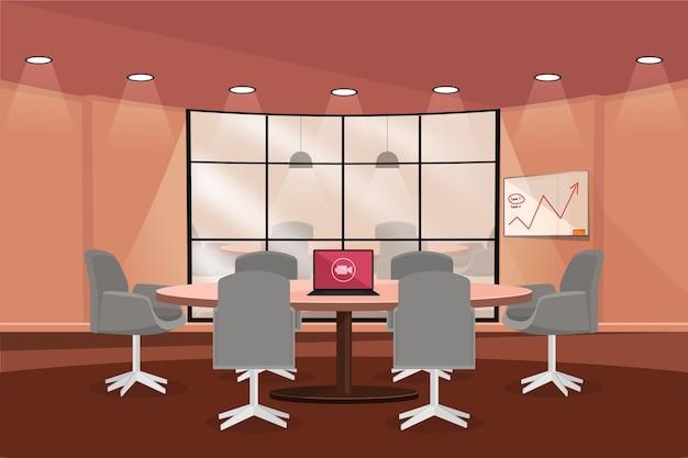オフィスのビデオ会議の背景とグラフィック 無料ベクター