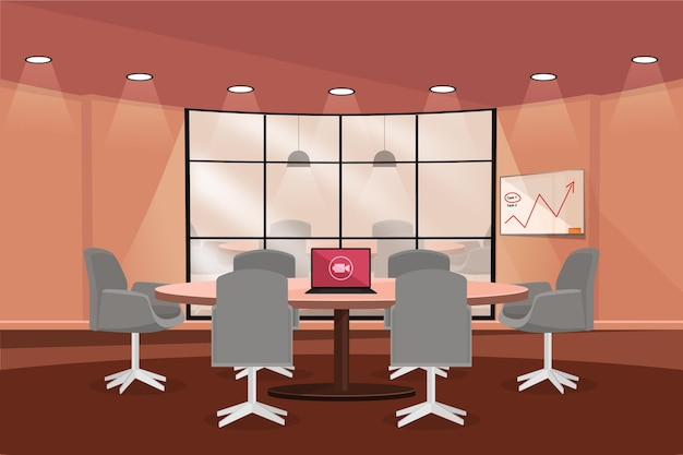 Office video conferencing background and graphics Free Vector