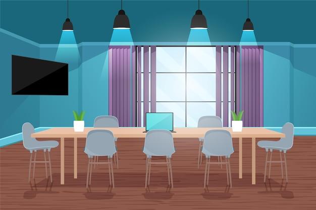 大きなテーブルとオフィスのビデオ会議の背景 無料ベクター