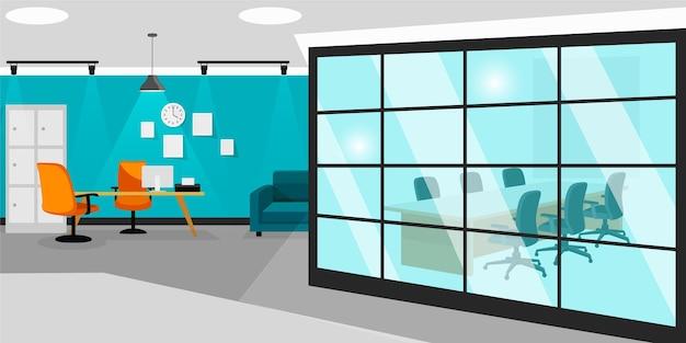Офисные обои для видеоконференций Бесплатные векторы