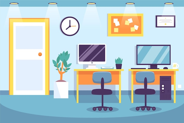 Office wallpaper for video conferencing Free Vector