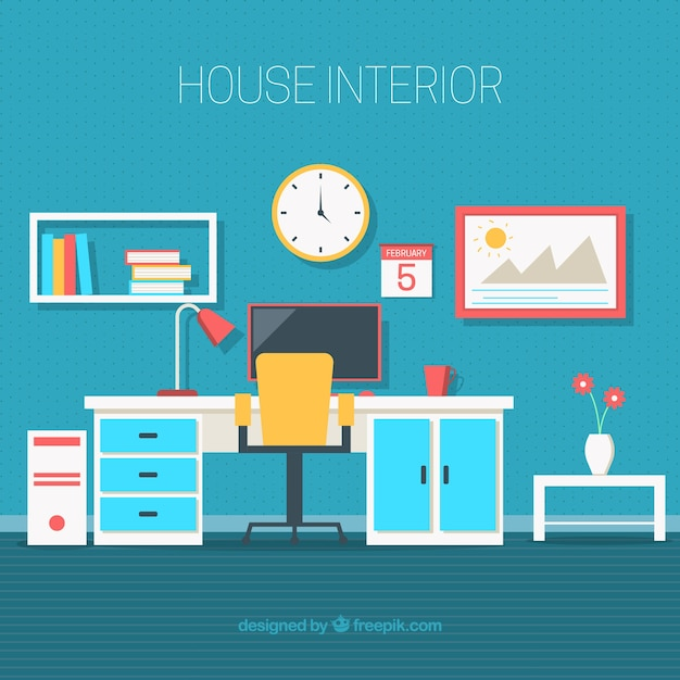 Office with decorative objects in flat design vector for Office design vector
