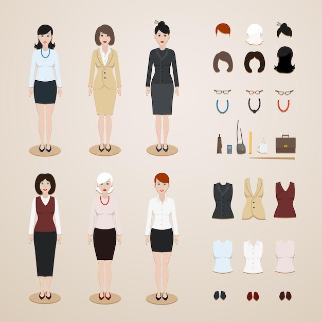 Office women set Free Vector
