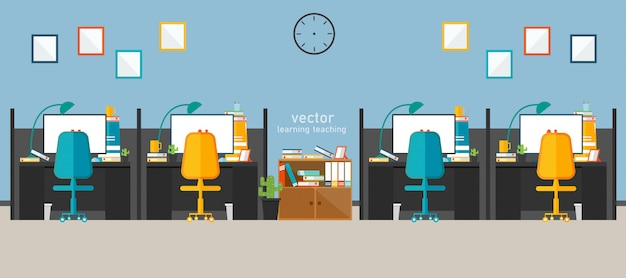 Office work in the company work using vector design Premium Vector