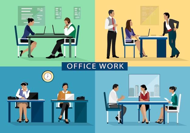 Концепция дизайна офисной работы с людьми, работающими на своих рабочих местах. Premium векторы
