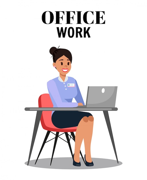 Office work flat vector illustration with text Premium Vector