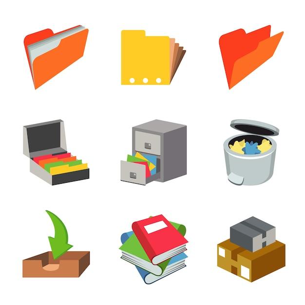 Office work paper equipment object set vector Premium Vector