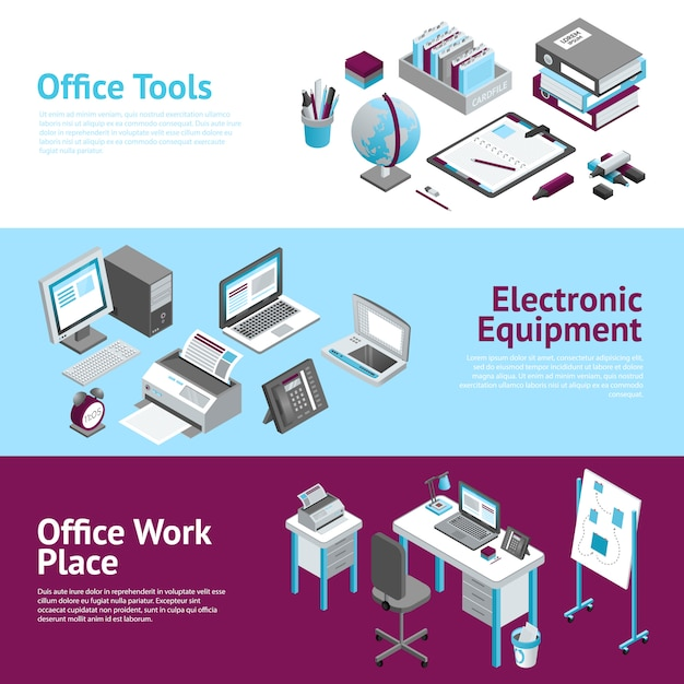 Office work place isometric banners set Free Vector