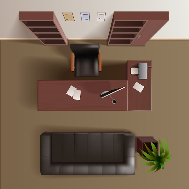 Office work room Free Vector