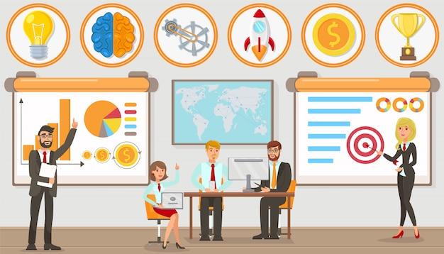 Office work and startup development. vector. Premium Vector
