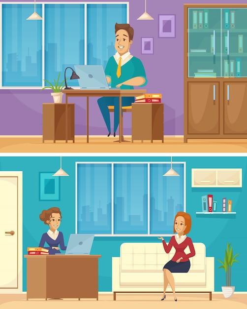 オフィスワーカー2漫画バナー 無料ベクター