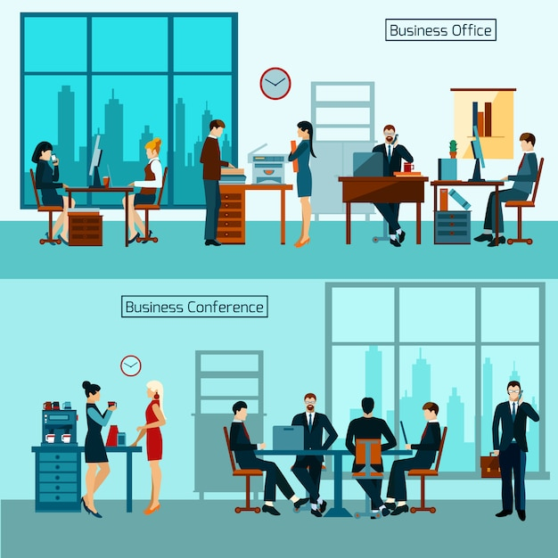 Office worker banner set Free Vector