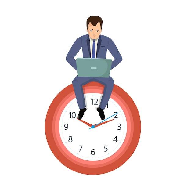 Office worker businessman sitting on a clock Premium Vector
