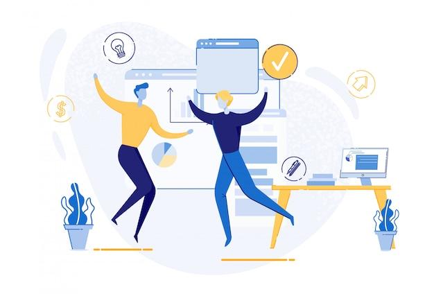 Office worker colleague meeting creative idea bulb Premium Vector