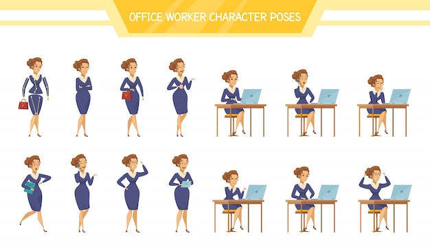 Office worker female poses set Free Vector