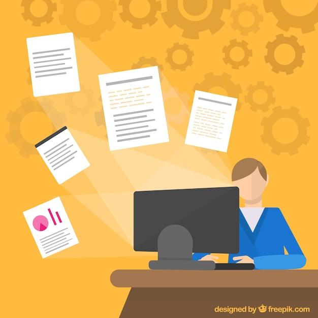 Office worker in flat design Premium Vector