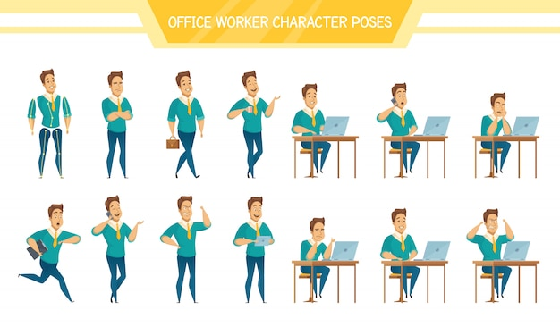 Office worker male  poses set Free Vector