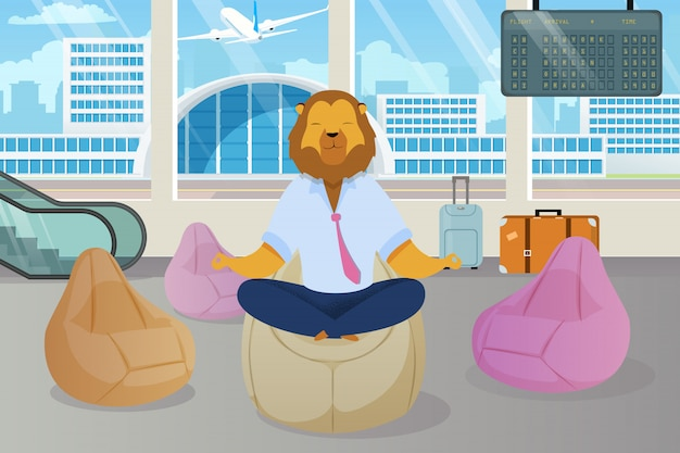 Office worker with lion head meditating clipart Premium Vector