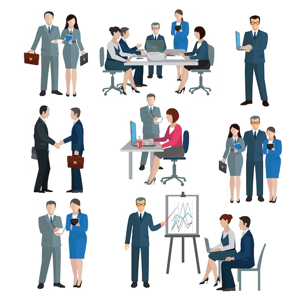 Office worker workgroup Free Vector
