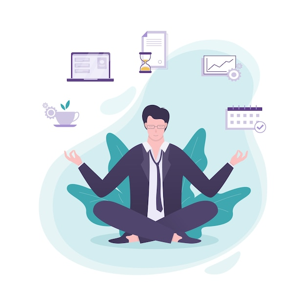 Office worker in yoga pose. meditation on the work Premium Vector