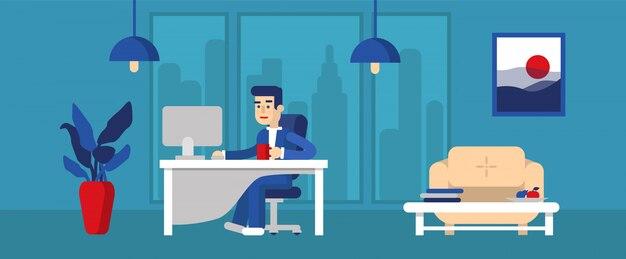 Office worker. Premium Vector