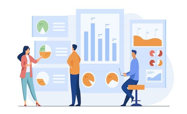 비즈니스 데이터를 분석하고 연구하는 직장인 무료 벡터
