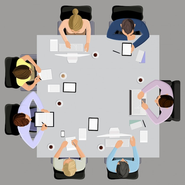 Office workers business management meeting and\ brainstorming on the square table in top view vector\ illustration