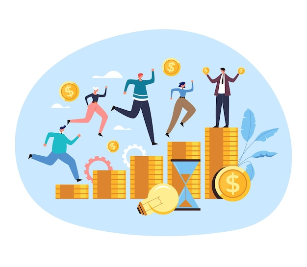 Office workers colleague man woman people characters compete running for money job salary contract income concept. Premium Vector