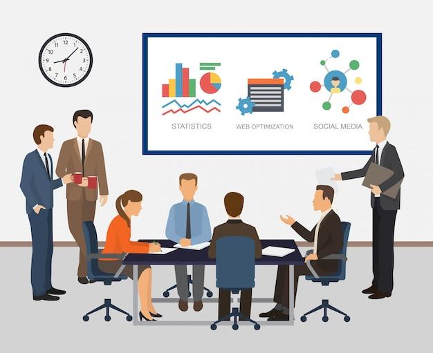 Встреча коллег работников офиса и иллюстрация сыгранности. отчеты, статистика, подсчет, вопросы бизнес-планирования и развития компании. Premium векторы