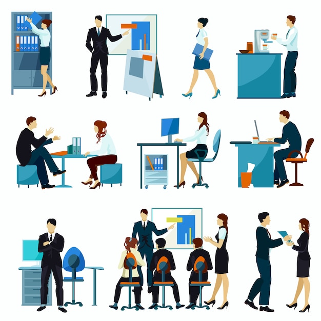 Office workers flat set Free Vector