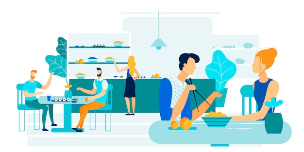 Office workers lunch together vector illustration. Premium Vector