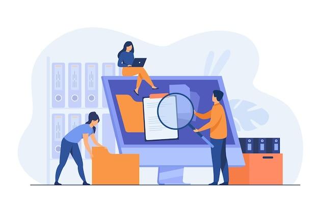 Офисные работники организуют хранение данных и файловый архив на сервере или компьютере. иллюстрации шаржа Бесплатные векторы