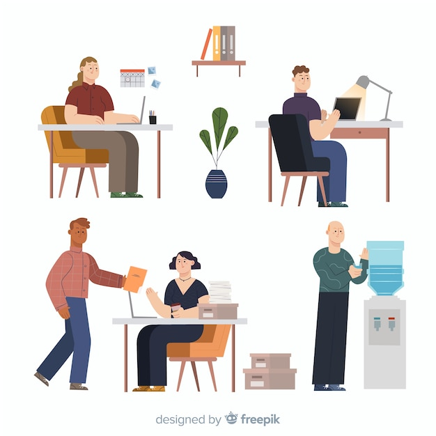 Office workers sitting at desks collection Free Vector