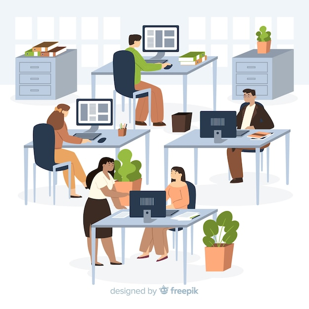 Office workers sitting at desks illustrated Free Vector