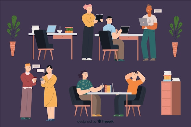 Office workers sitting at desks pack Free Vector