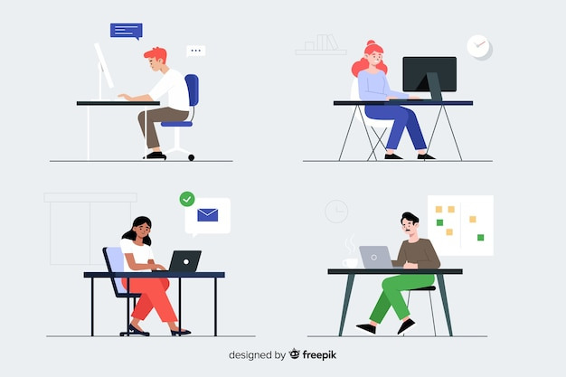 Office workers sitting at desks set Free Vector