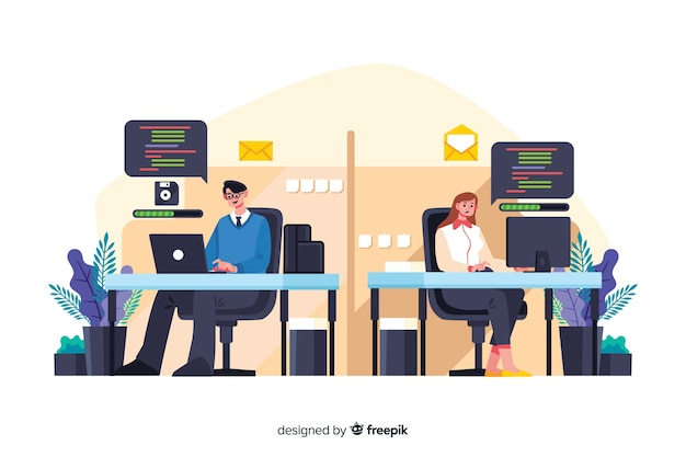 Office workers sitting at desks together Free Vector
