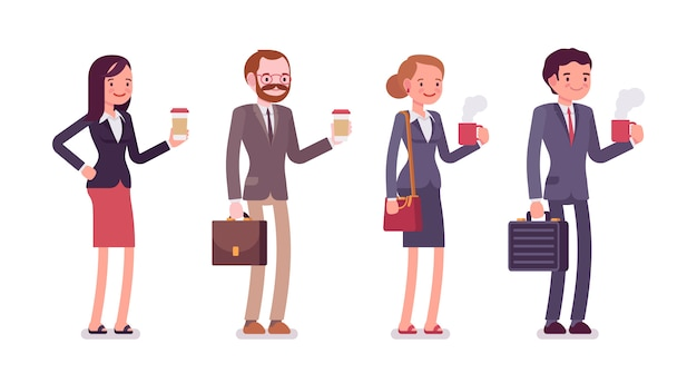 Office workers with coffee Premium Vector