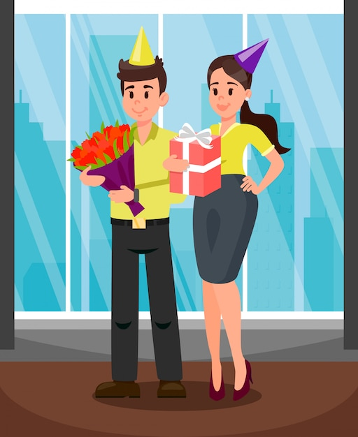 Office workers with presents vector illustration Premium Vector